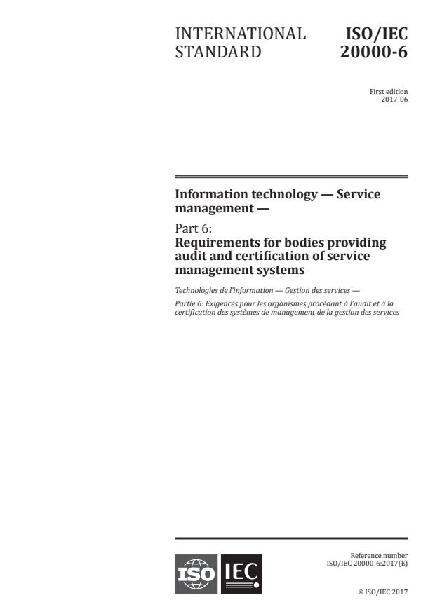 ISO/IEC 20000-6:2017 - Information technology -- Service management