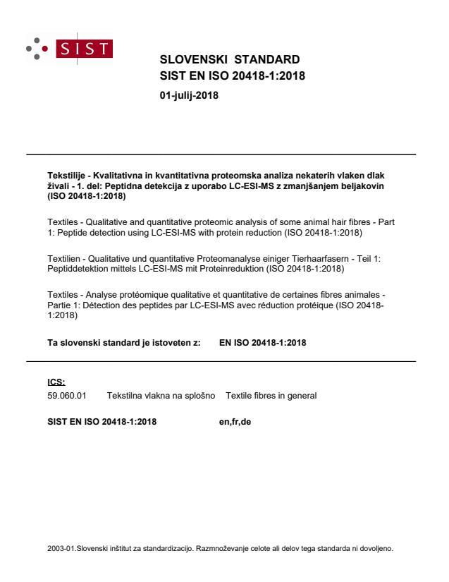 EN ISO 20418-1:2018