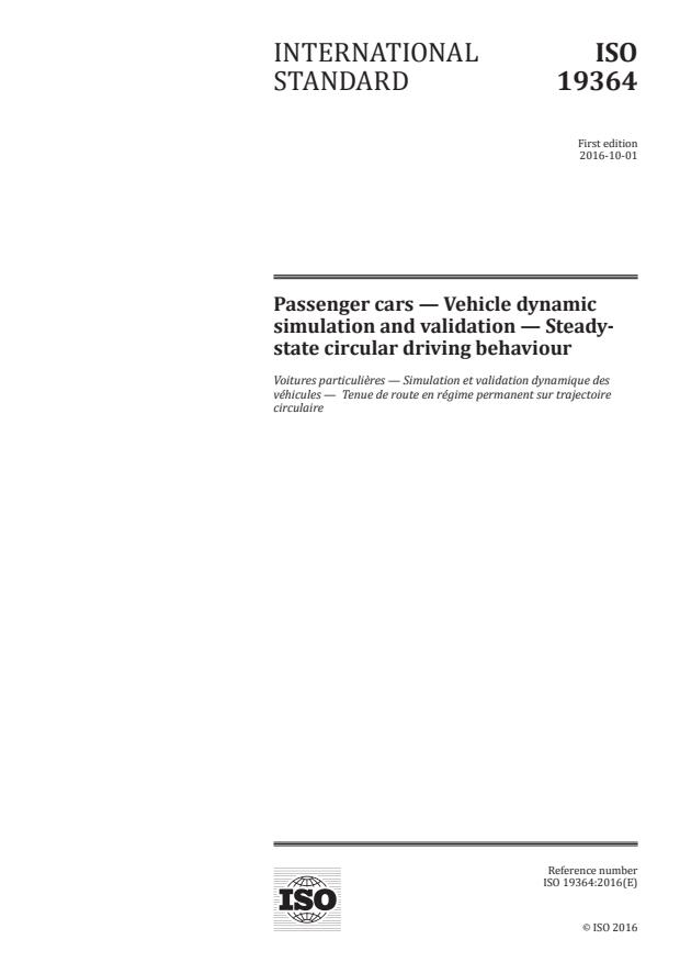 ISO 19364:2016 - Passenger cars --  Vehicle dynamic simulation and validation -- Steady-state circular driving behaviour