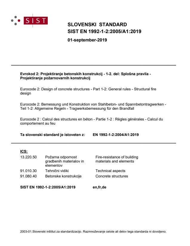 SIST EN 1992-1-2:2005/A1:2019