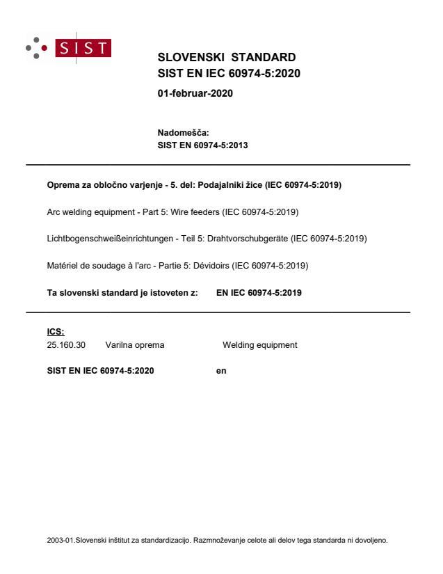 SIST EN IEC 60974-5:2020