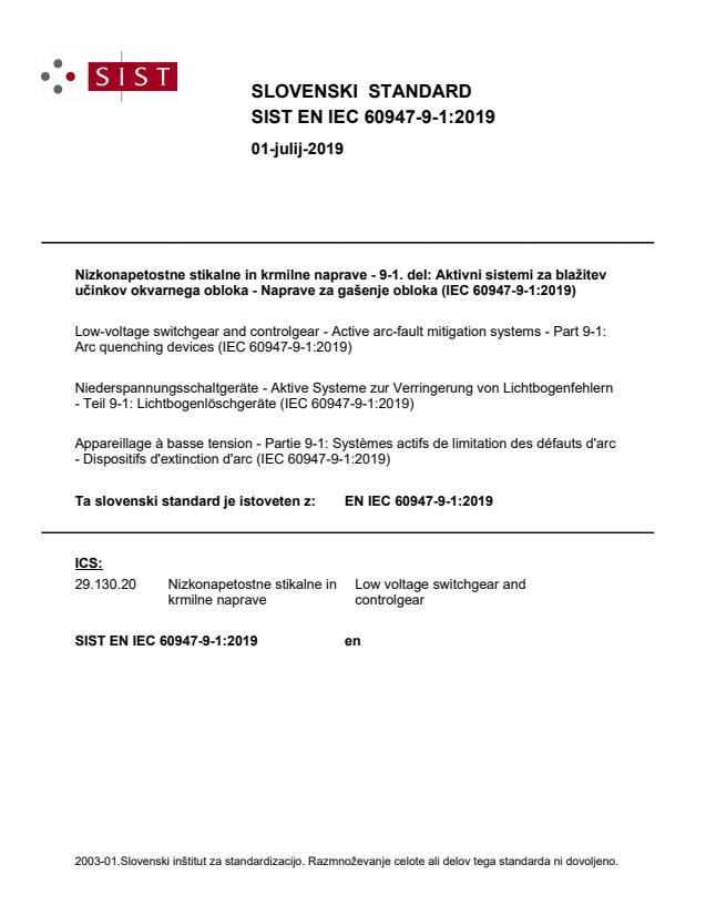 SIST EN IEC 60947-9-1:2019