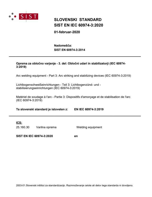 SIST EN IEC 60974-3:2020