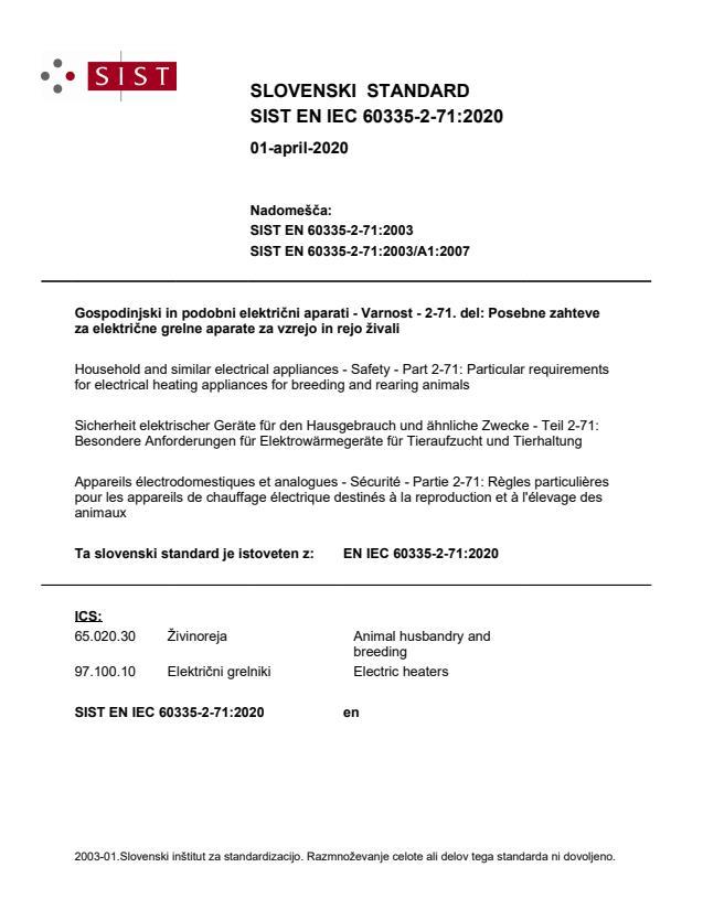 SIST EN IEC 60335-2-71:2020