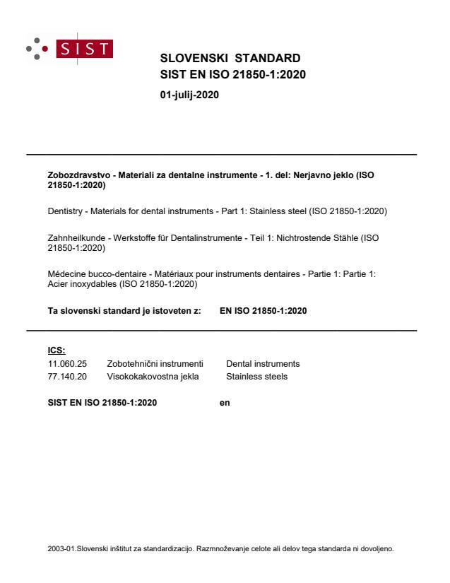 SIST EN ISO 21850-1:2020