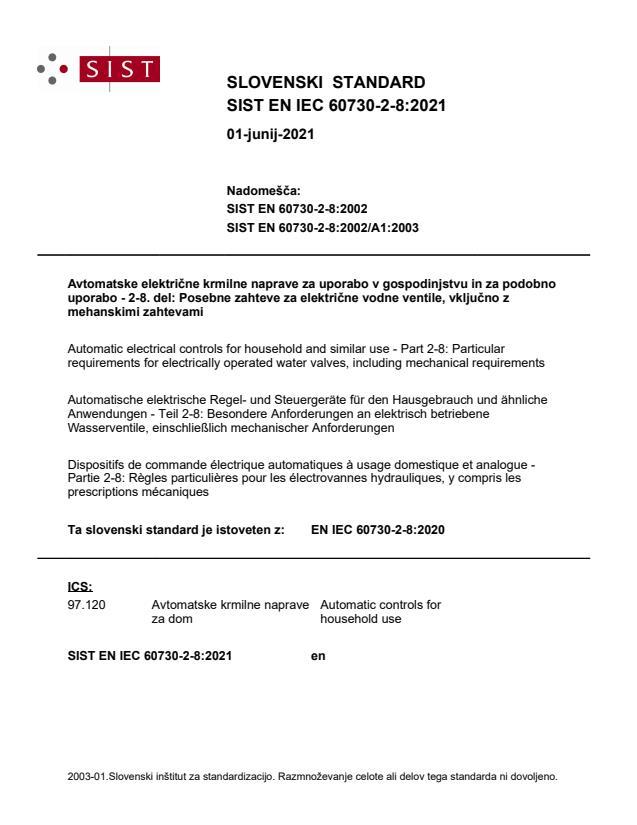 SIST EN IEC 60730-2-8:2021