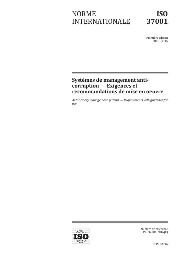 ISO 37001:2016 - Systemes de management anti-corruption -- Exigences et recommandations de mise en oeuvre