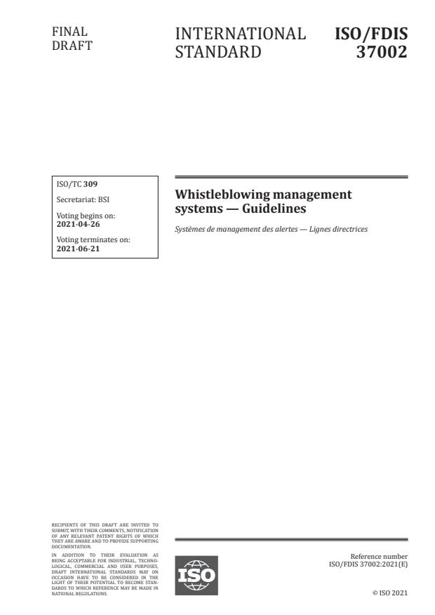 ISO/FDIS 37002 - Whistleblowing management systems -- Guidelines