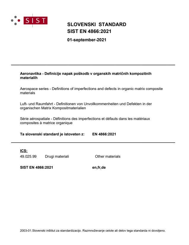 SIST EN 4866:2021 - BARVE