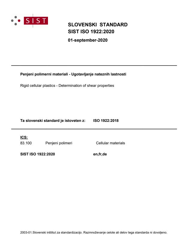 SIST ISO 1922:2020