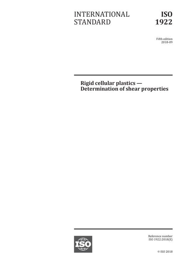 ISO 1922:2018 - Rigid cellular plastics -- Determination of shear properties