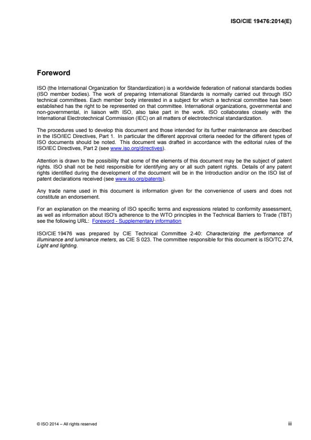 ISO/CIE 19476:2014 - Characterization of the performance of illuminance meters and luminance meters