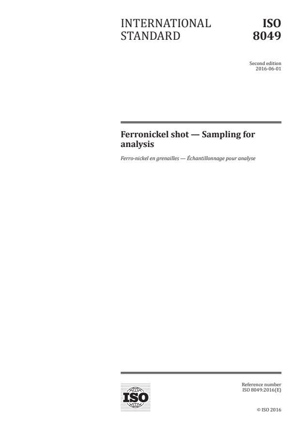 ISO 8049:2016 - Ferronickel shot -- Sampling for analysis