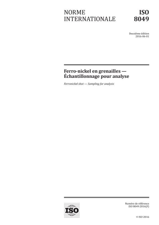 ISO 8049:2016 - Ferro-nickel en grenailles -- Échantillonnage pour analyse