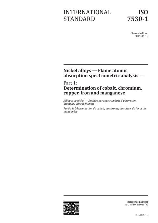 ISO 7530-1:2015 - Nickel alloys -- Flame atomic absorption spectrometric analysis
