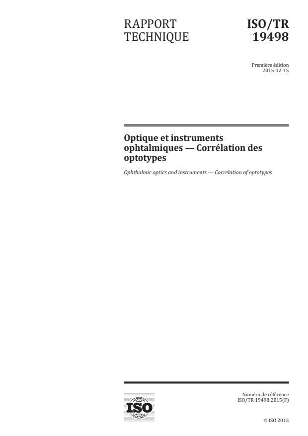 ISO/TR 19498:2015 - Optique et instruments ophtalmiques -- Corrélation des optotypes