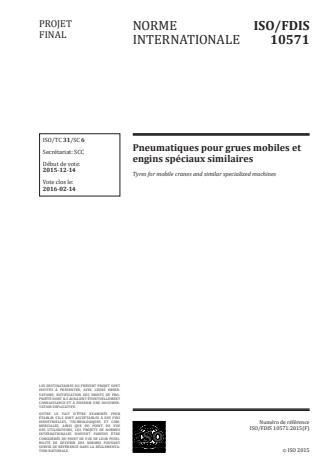 ISO 10571:2016 - Pneumatiques pour grues mobiles et engins spéciaux similaires