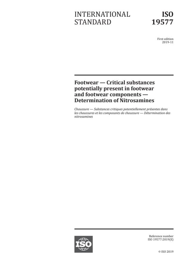 ISO 19577:2019 - Footwear -- Critical substances potentially present in footwear and footwear components -- Determination of Nitrosamines