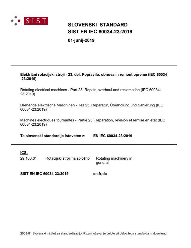 SIST EN IEC 60034-23:2019