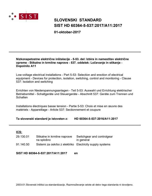 SIST HD 60364-5-537:2017/A11:2017
