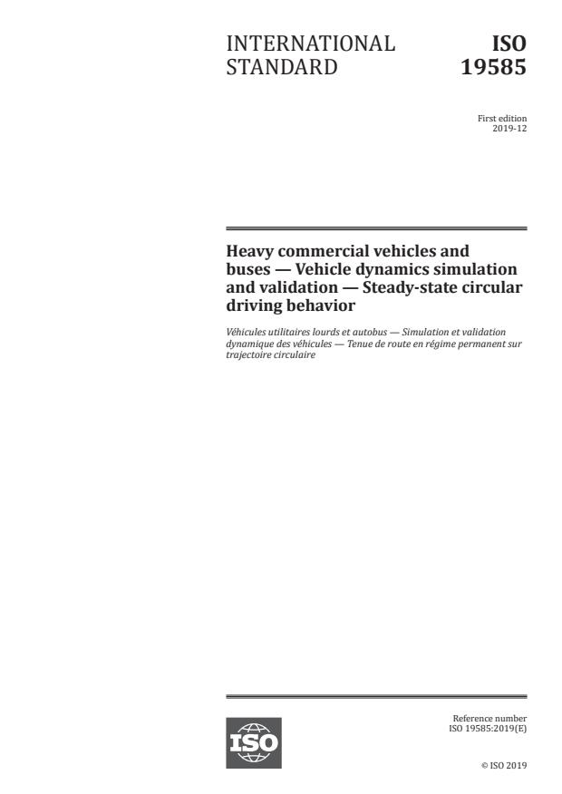 ISO 19585:2019 - Heavy commercial vehicles and buses -- Vehicle dynamics simulation and validation -- Steady-state circular driving behavior