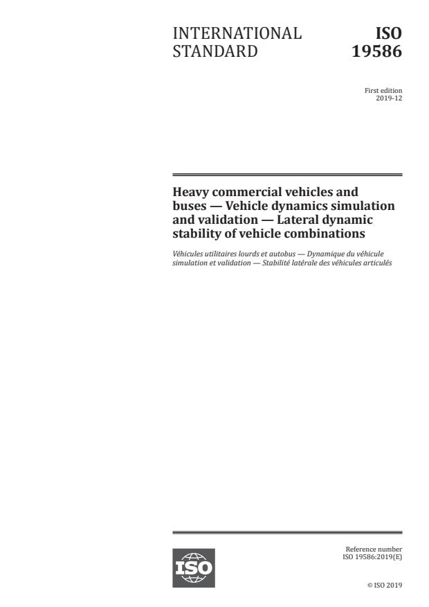 ISO 19586:2019 - Heavy commercial vehicles and buses -- Vehicle dynamics simulation and validation -- Lateral dynamic stability of vehicle combinations