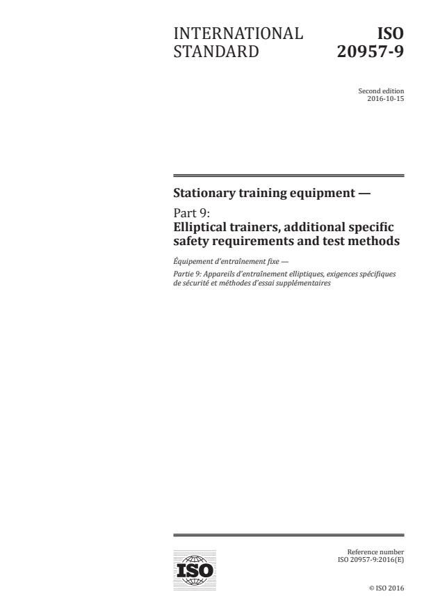 ISO 20957-9:2016 - Stationary training equipment