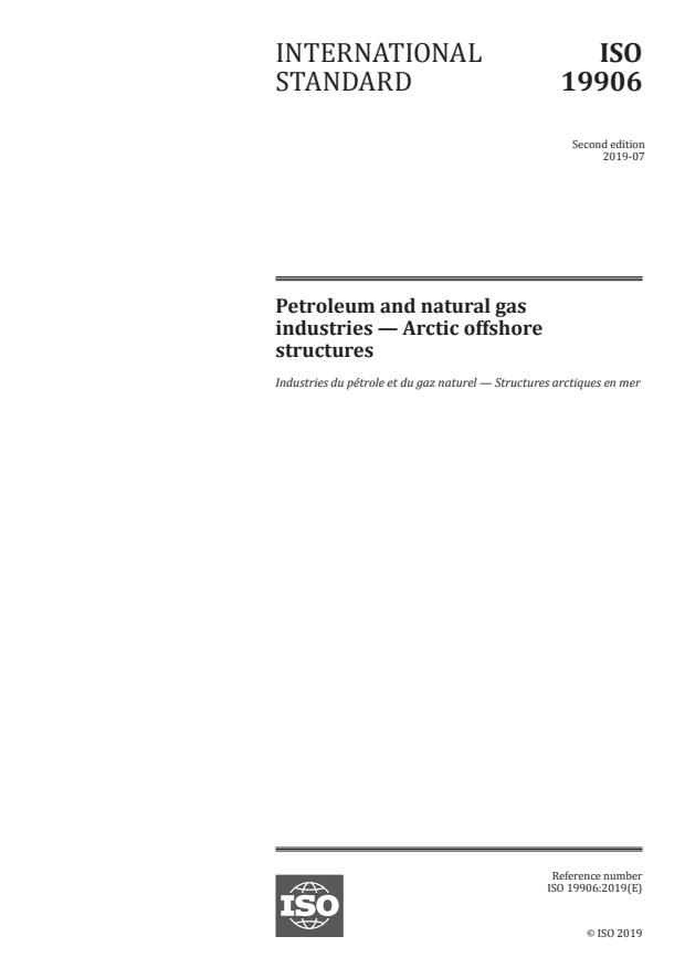 ISO 19906:2019 - Petroleum and natural gas industries -- Arctic offshore structures