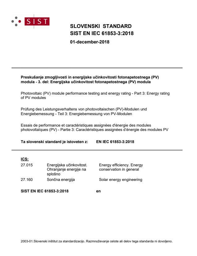 SIST EN IEC 61853-3:2018