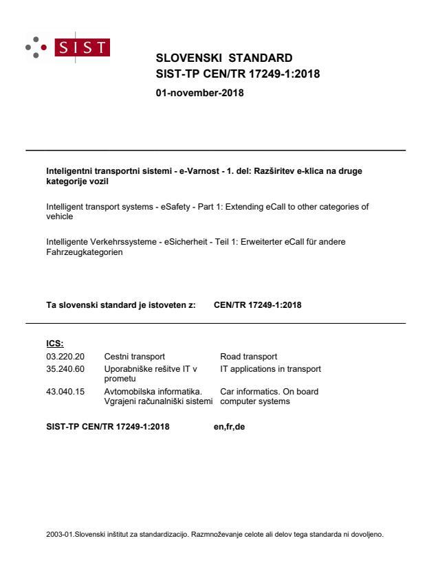 SIST-TP CEN/TR 17249-1:2018 - BARVE
