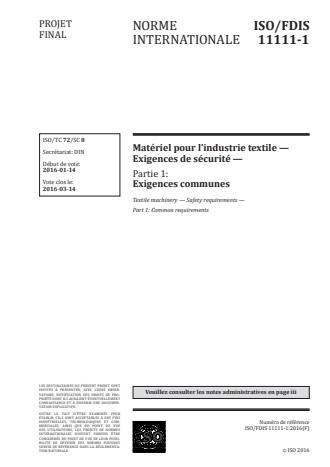 ISO 11111-1:2016 - Matériel pour l'industrie textile -- Exigences de sécurité
