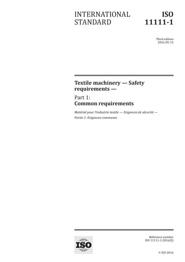 ISO 11111-1:2016 - Textile machinery -- Safety requirements