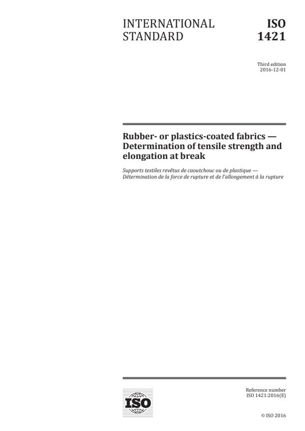 ISO 1421:2016 - Rubber- or plastics-coated fabrics -- Determination of tensile strength and elongation at break
