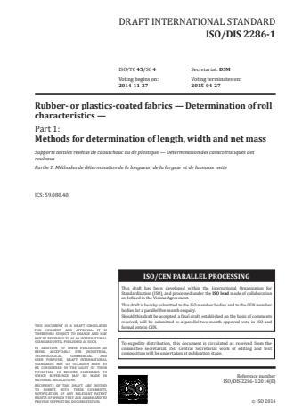 ISO 2286-1:2016 - Rubber- or plastics-coated fabrics -- Determination of roll characteristics