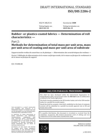 ISO 2286-2:2016 - Rubber- or plastics-coated fabrics -- Determination of roll characteristics