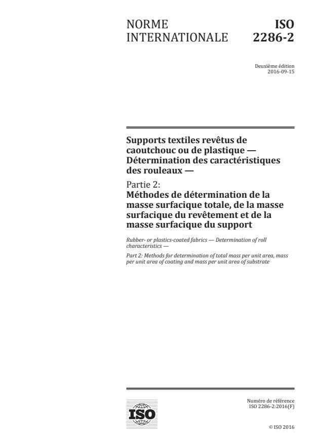 ISO 2286-2:2016 - Supports textiles revêtus de caoutchouc ou de plastique -- Détermination des caractéristiques des rouleaux