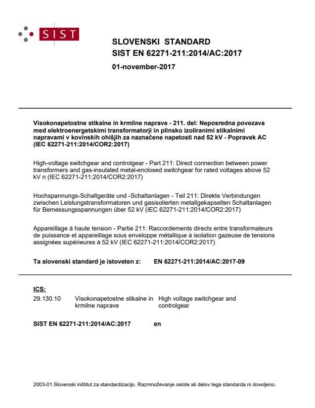 SIST EN 62271-211:2014/AC:2017