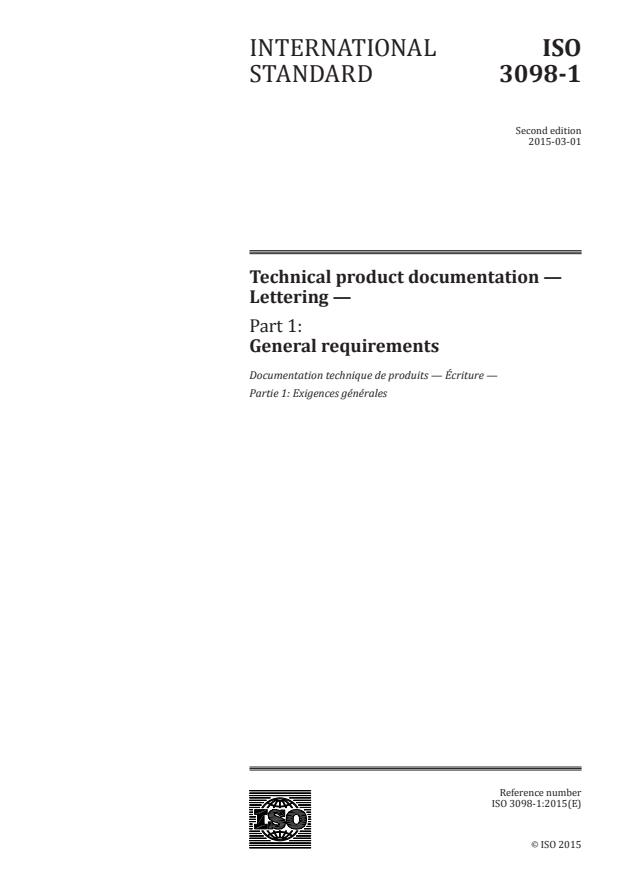 ISO 3098-1:2015 - Technical product documentation -- Lettering