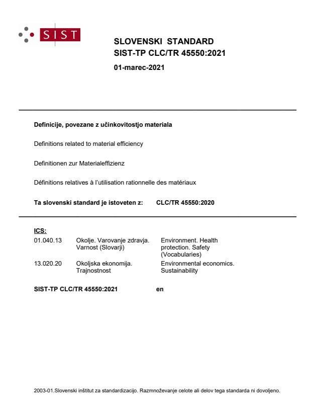 SIST-TP CLC/TR 45550:2021
