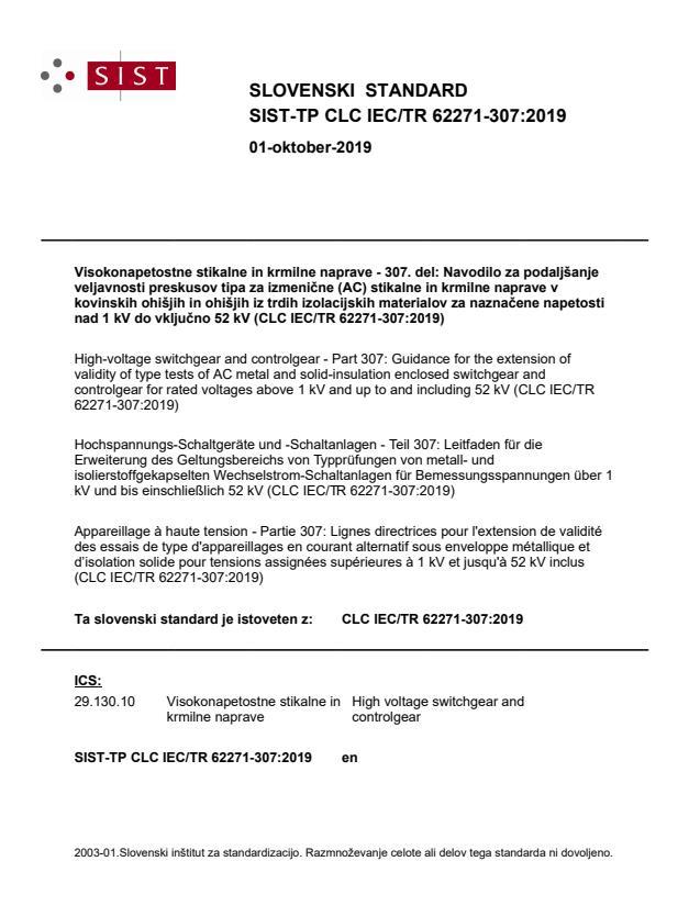 SIST-TP CLC IEC/TR 62271-307:2019