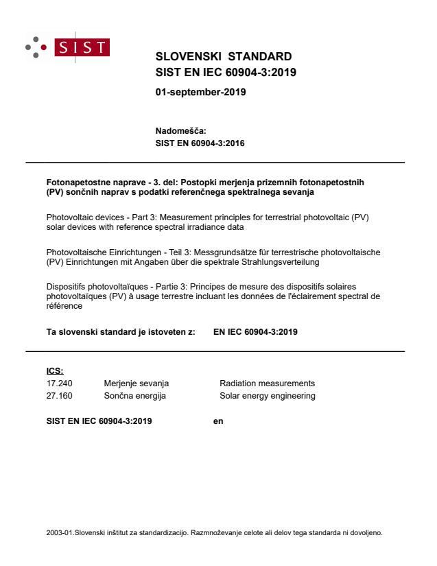 EN IEC 60904-3:2019