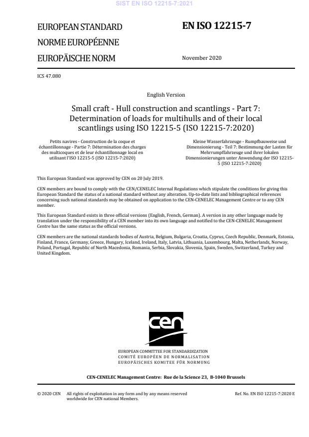 SIST EN ISO 12215-7:2021
