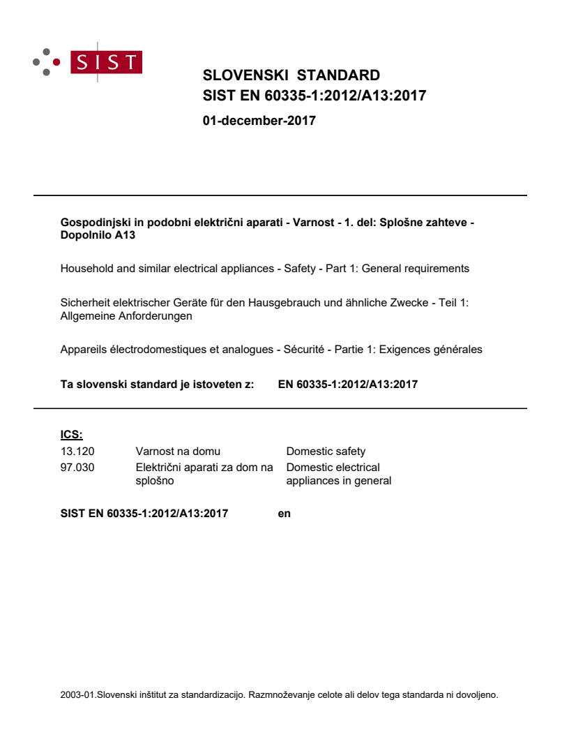 EN 60335-1:2012/A13:2017 - natisnjeno