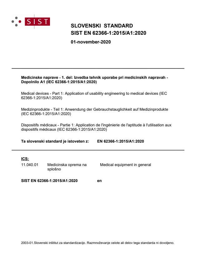 SIST EN 62366-1:2015/A1:2020