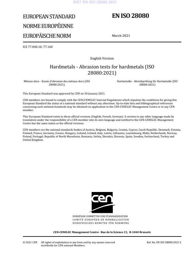 SIST EN ISO 28080:2021