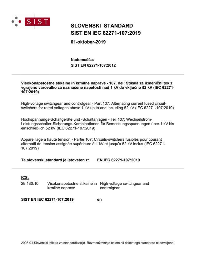 SIST EN IEC 62271-107:2019
