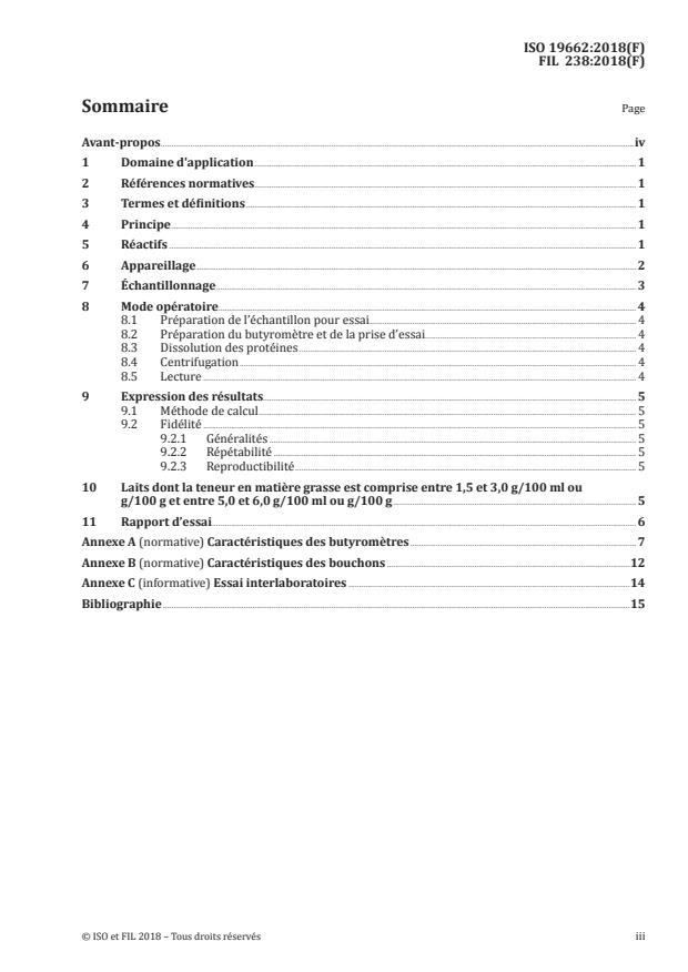 ISO 19662:2018 - Lait -- Détermination de la teneur en matiere grasse -- Méthode acido-butyrométrique (méthode de Gerber)