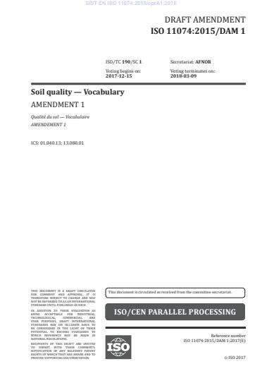 SIST EN ISO 11074:2015/oprA1:2018