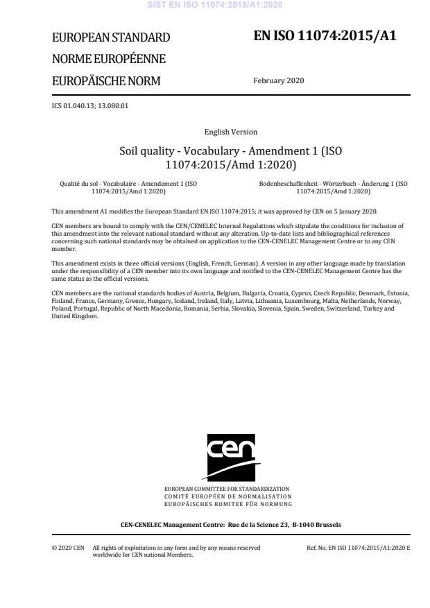SIST EN ISO 11074:2015/A1:2020