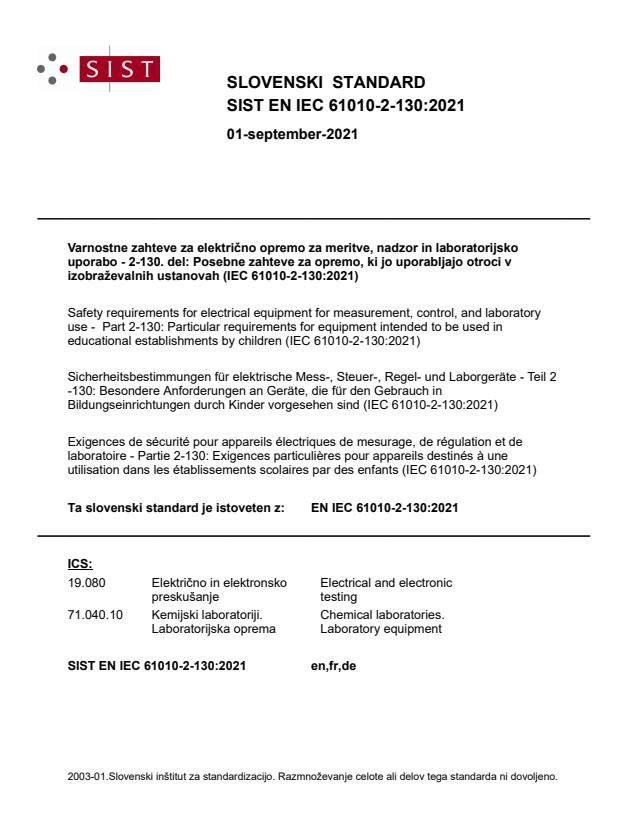 SIST EN IEC 61010-2-130:2021